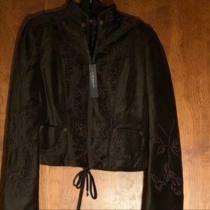 Elie Tahari Velvet Dark Brown Embroidered Jacket